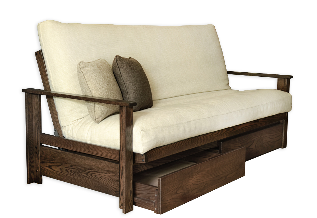 Sherbrooke oak futon frame futon d 39 or natural for Sofa bed futon