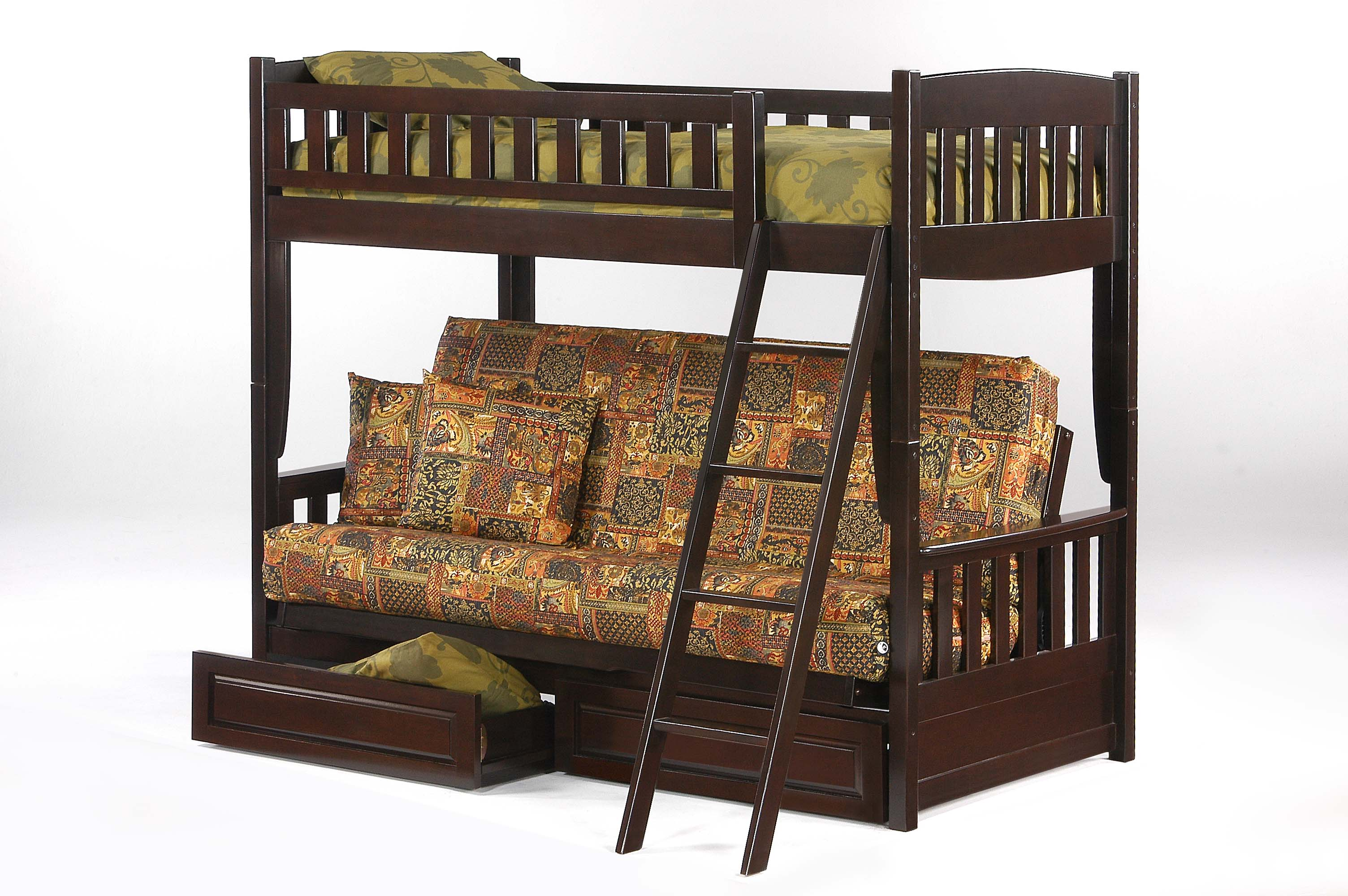 Cinnamon Futon Bunk Dark Chocolate W Drawer Opened