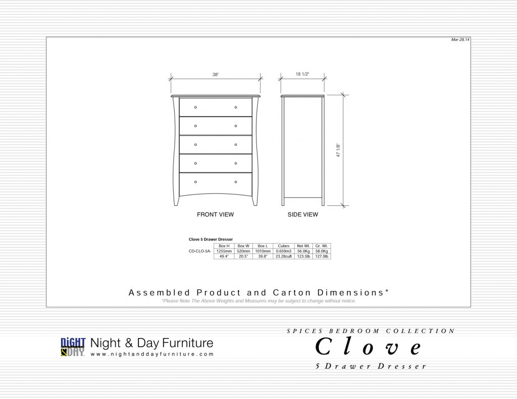 Clove-5-Drawer-Dimensions