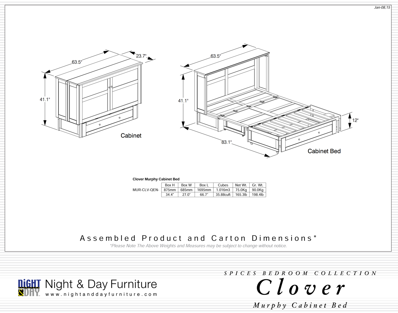 Lit Armoire Clover Night Amp Day Futon D Or Matelas