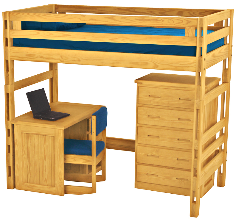 Crate Designs Loft Bed With Student Desk Futon D Or Natural