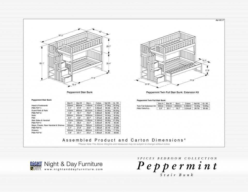 Peppermint Stair Bunk Dimensions