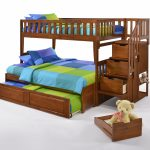 Peppermint Twin Full Extension Cherry w Cinnamon Trundle Bed opened